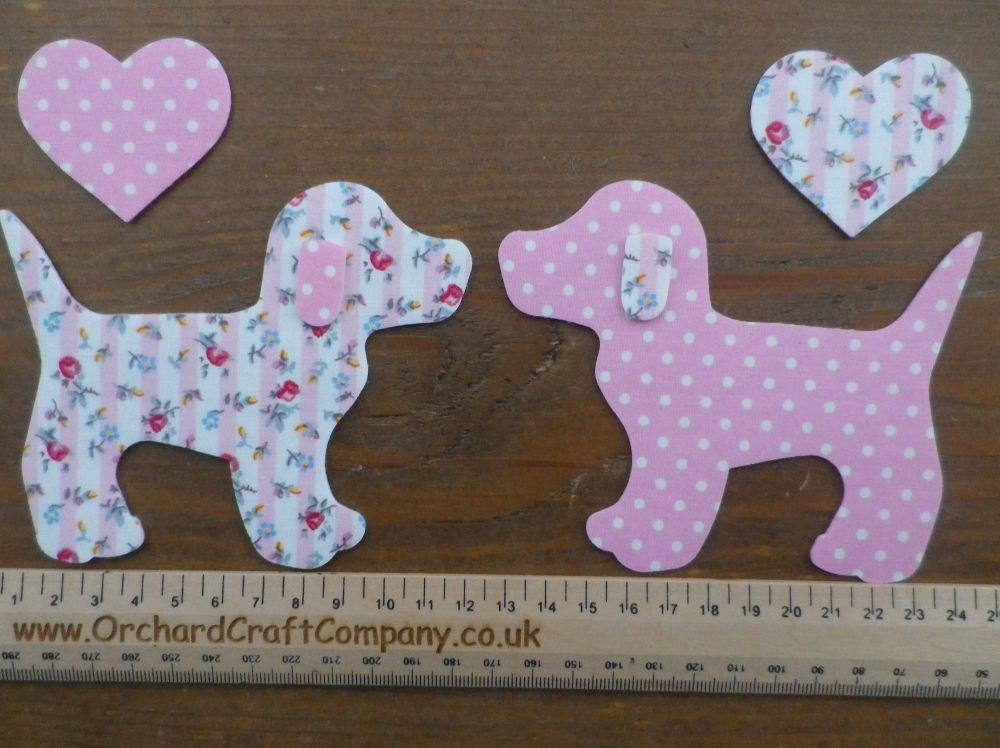 Cute Dogs x 2 with hearts, Dotty and Floral