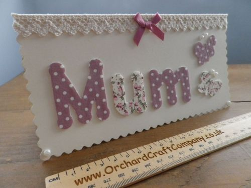 Mothers Day Card. Handcrafted vintage style fabric lace.
