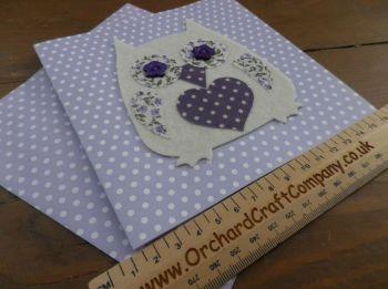 Handmade Felt and Fabric Owl card