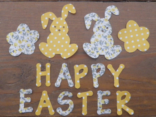 HAPPY EASTER Bunny Rabbits x2 .Floral/Dotty No Sew Iron On fabric. Applique