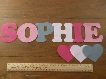 Large Felt Letters or Numbers  X 7 (7.5cm) Quality Felt, Choice of  Colours.