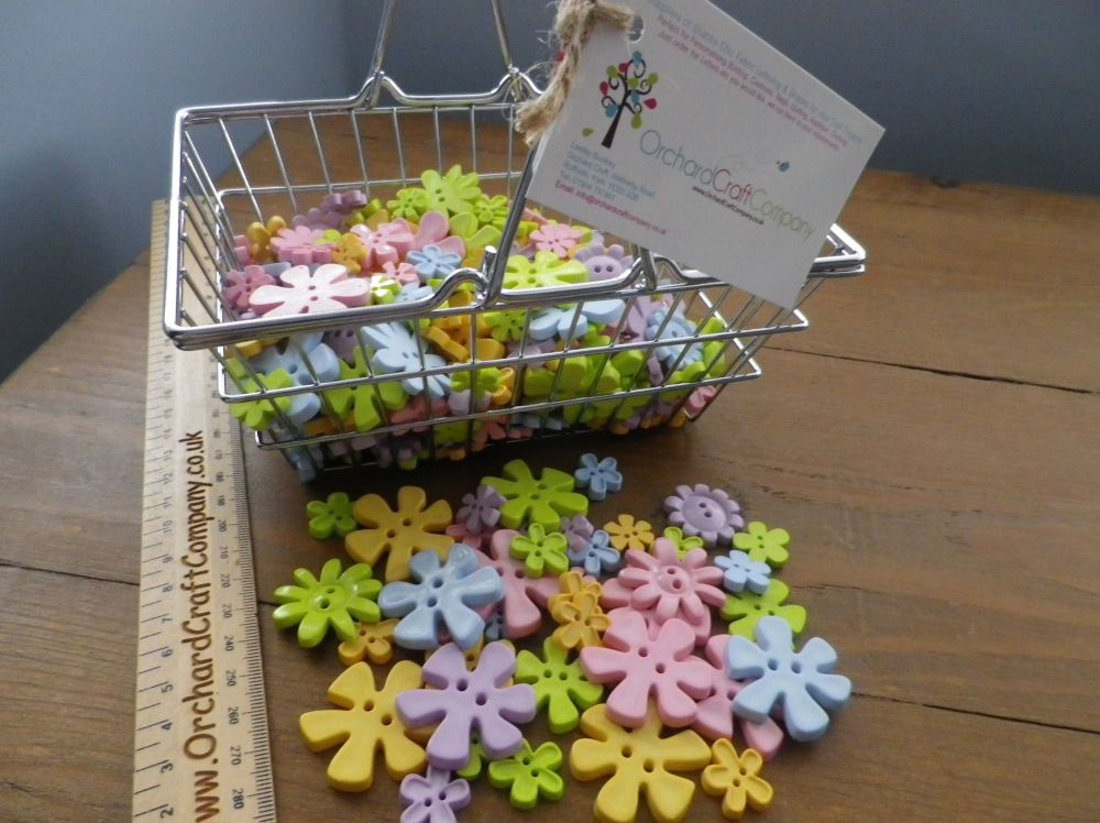 Flower Shaped Buttons. Mixed Colours And Sizes.