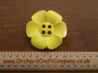 Sunny Yellow, Large Clown Flower Button. 64 mm