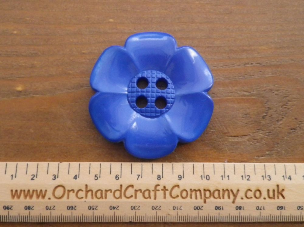 Royal Blue, Large Clown Flower Button. 64 mm