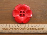 Post Box Red Large Clown Flower Button. 64 mm