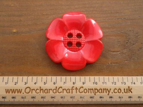 Geranium Red Large Clown Flower Button. 64 mm
