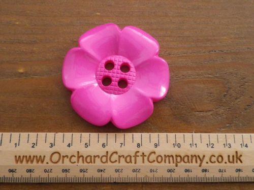 Pink, Large Clown Flower Button. 64 mm