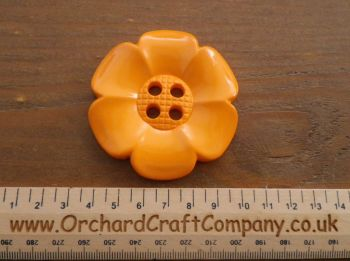 Orange, Large Clown Flower Button. 64 mm
