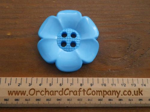 Light Blue, Large Clown Flower Button. 64 mm