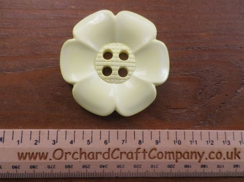 Pale Yellow, Large Clown Flower Button. 64 mm