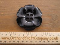 Black, Large Clown Flower Button. 64 mm