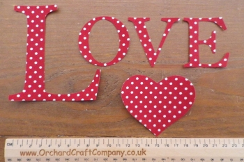 Love, Iron On Fabric Applique Letters