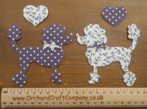 IRON ON FABRIC Posh Paws POODLE DOGS X 2 with Hearts