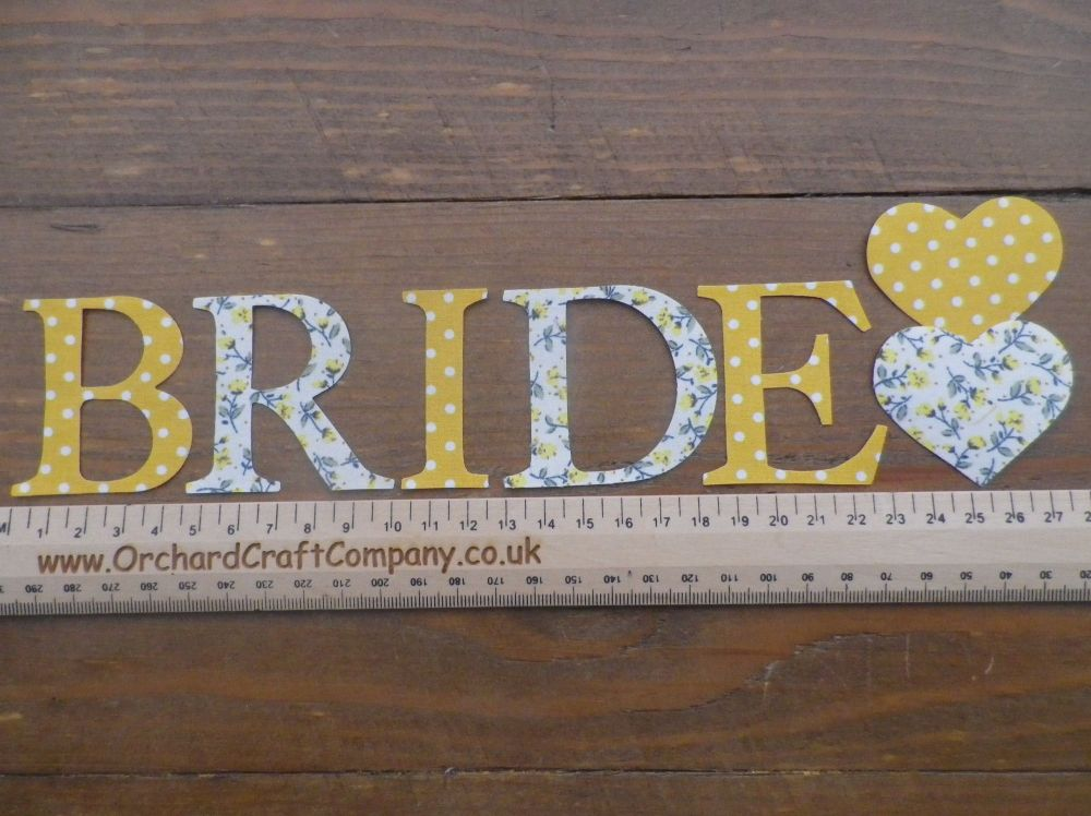 BRIDE, With matching Hearts, Iron on 5 cm Applique letters