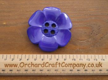 Cadbury Purple, Large Clown Flower Button. 64 mm