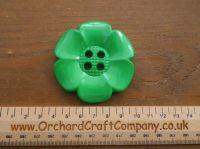 Grass Green, Large Clown Flower Button. 64 mm