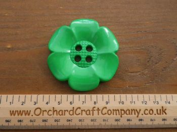 Grass Green, Large Clown Flower Button. 64 mm