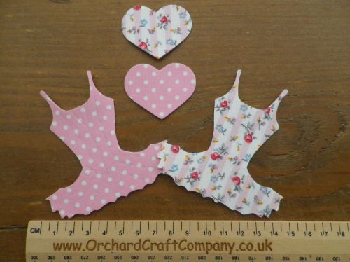 Iron On Fabric BALLET DRESS Applique x 2 with Hearts