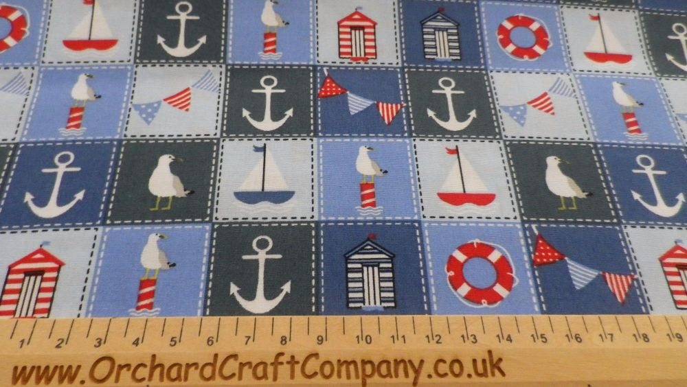 Nautical Red/Blue Seaside 100% Cotton Fabric.  £1.75 - £6.95