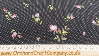 Cotton Fabric Pink Rose Black Polka Dot Background