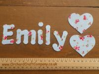 Floral Print Iron On 4 - 5 cm Fabric Letters/Numbers  set of 7