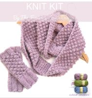 Knit Kit for berry cowl and gloves set GREEN only