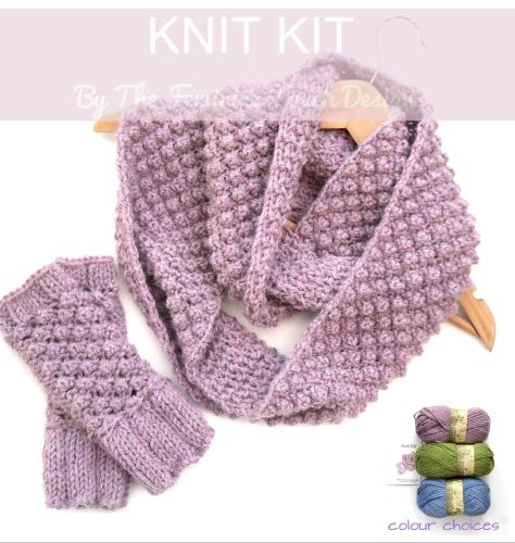 Knit Kit for berry cowl and gloves set