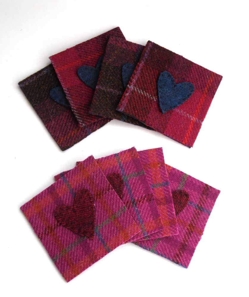 Harris Tweed Coasters with hearts