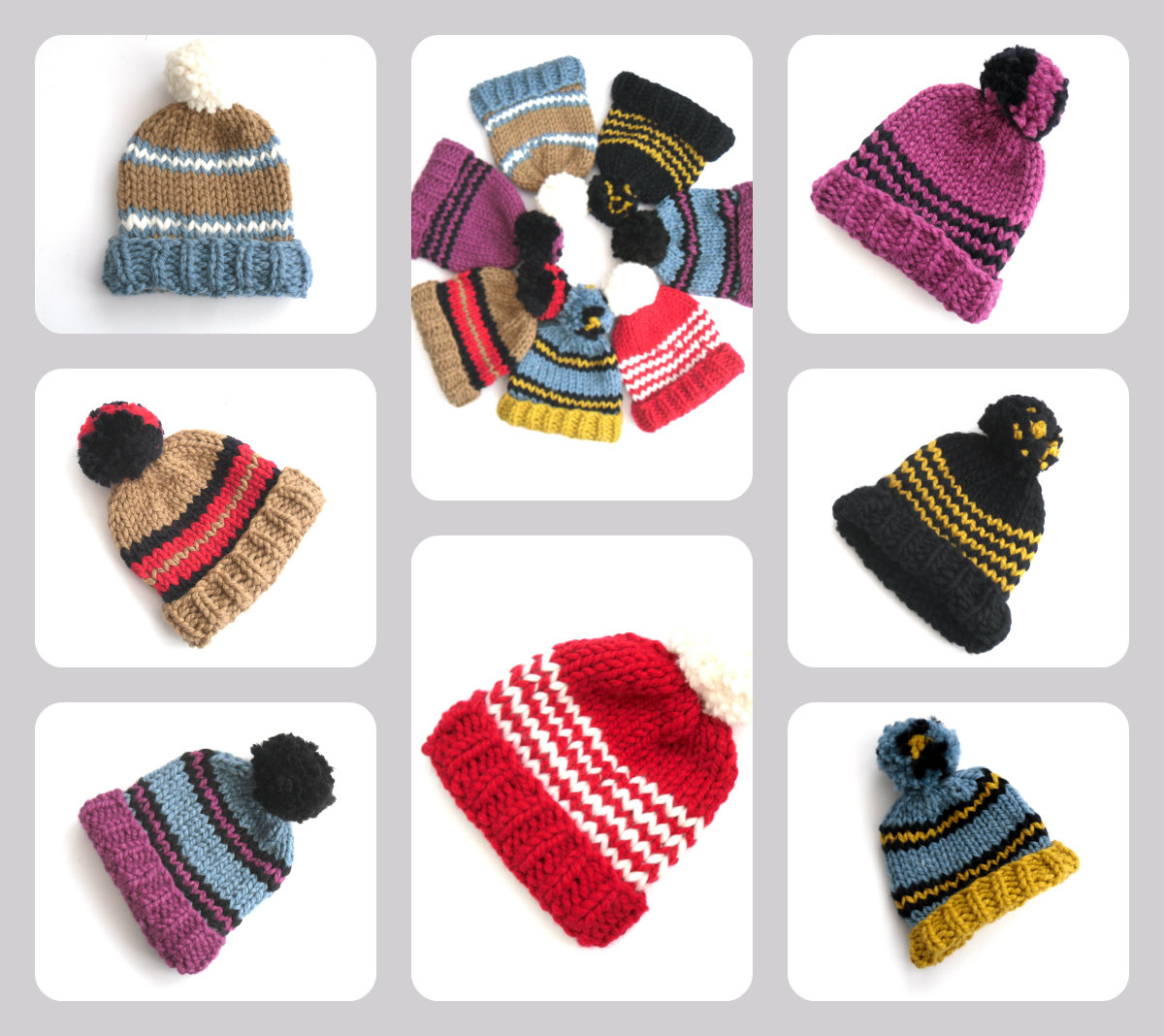 Striped wool hats