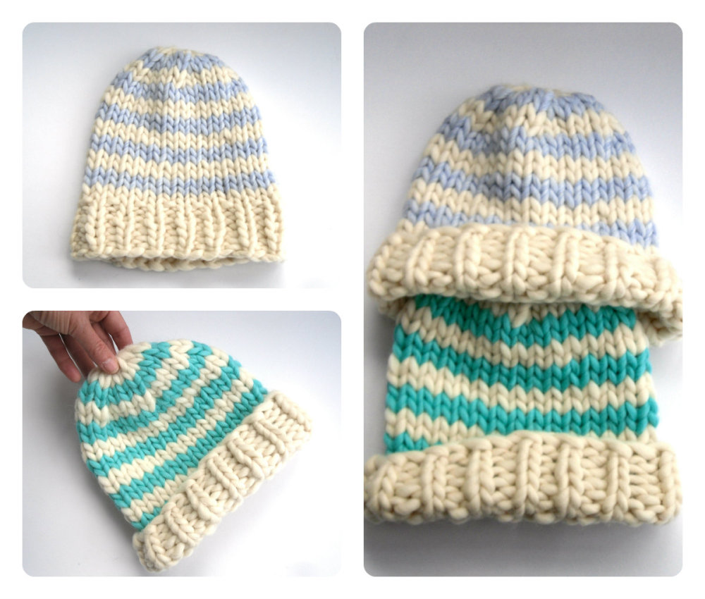 100% wool striped wool beanie hat