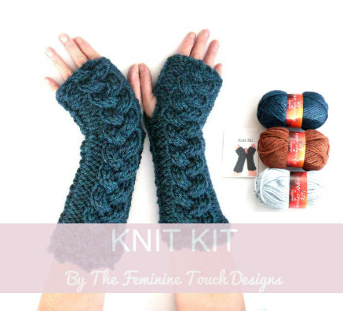 Chunky cable arm warmers knitting kit