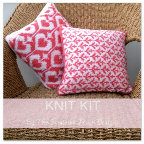 Knit Kit for valentine hearts & cupid arrows cushion