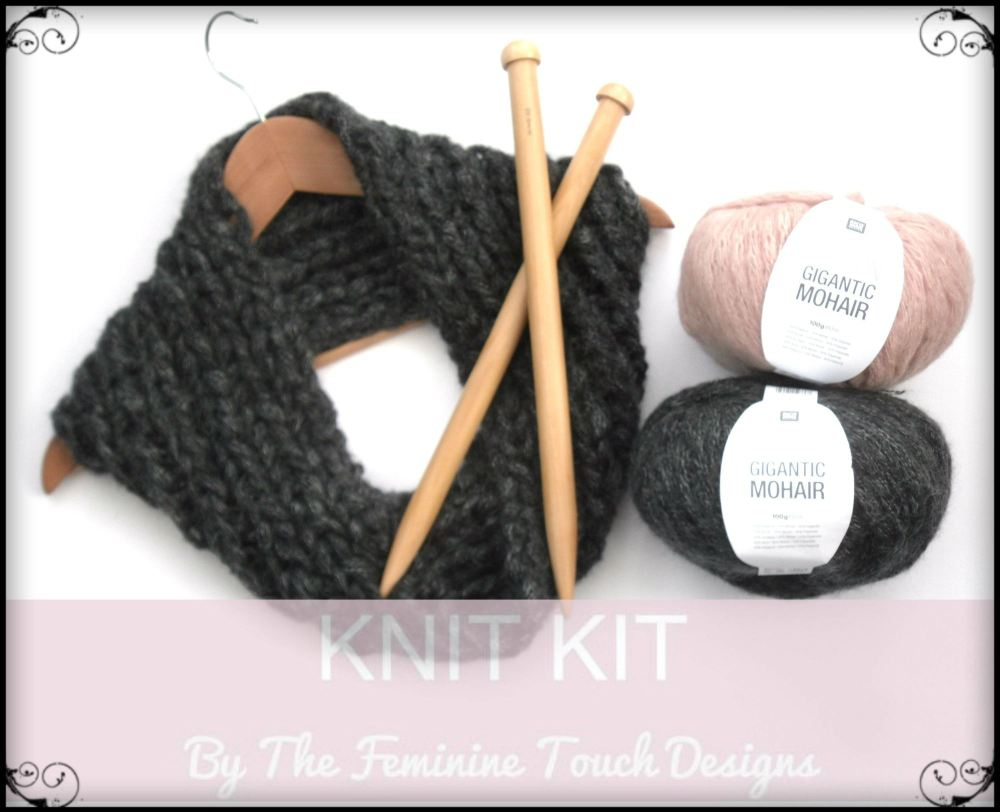 Knitting Kit for chunky mohair cowl