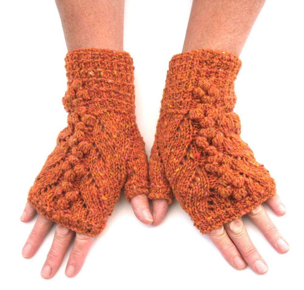 Orange Tweed Lace Fingerless gloves, 100% wool