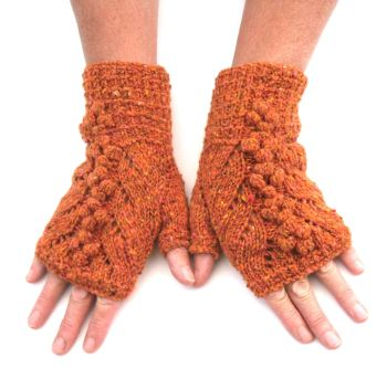 Orange Tweed Lace Fingerless gloves, 100% wool