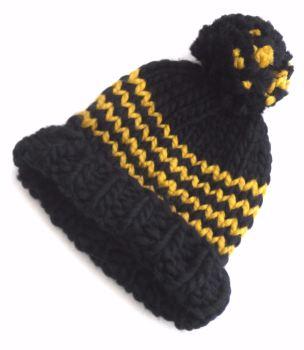 Navy Blue Wool Beanie Hats