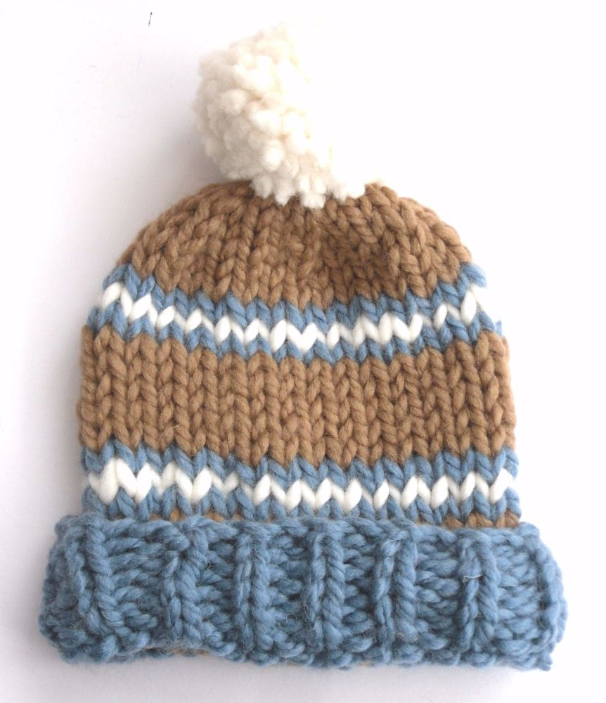 Brown and Blue Wool Beanie Hat   SALE