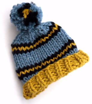 Blue , Yellow Beanie Hat