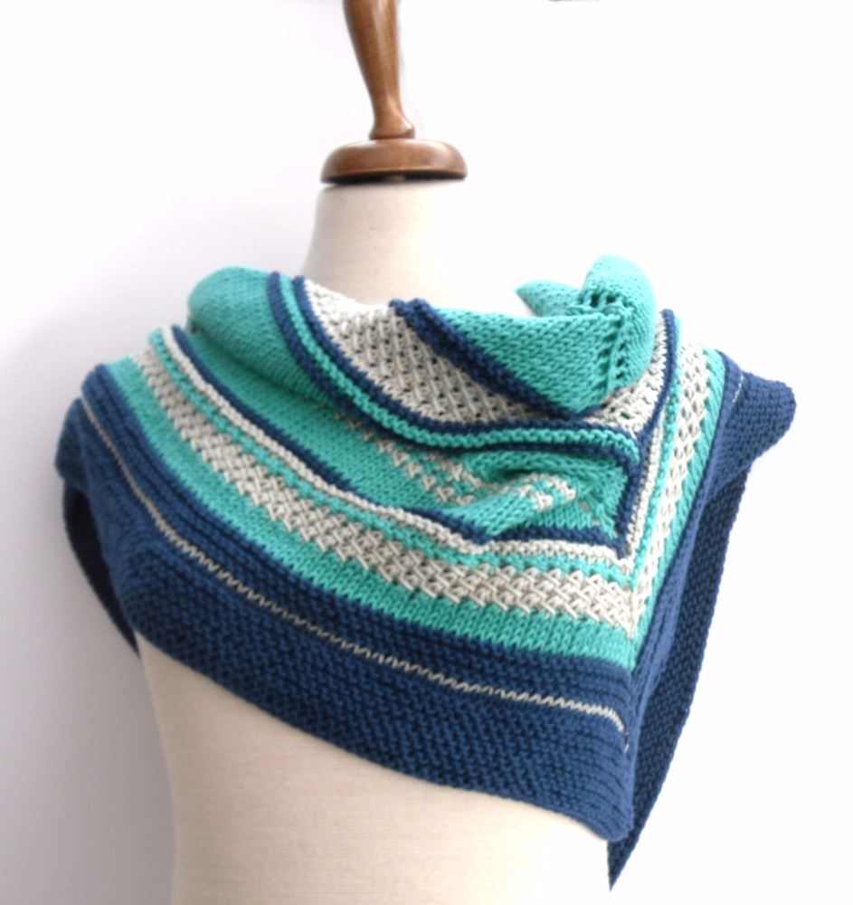 Cotton Striped triangular shawl