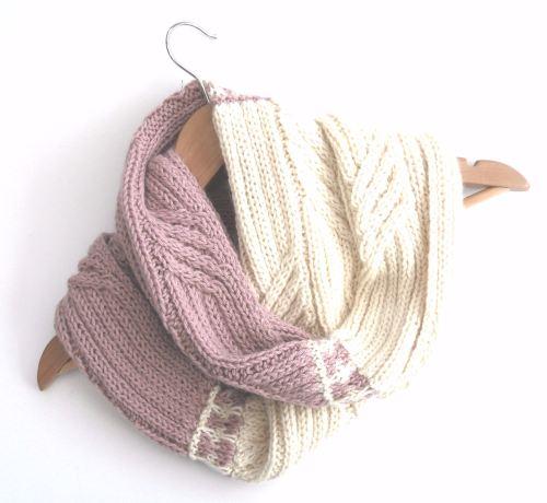 Baby Alpaca Wool Cowl in pink / cream