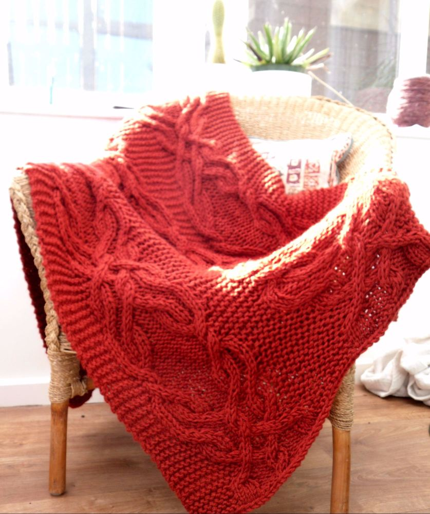 Cable lap blanket hand knit in custom colour