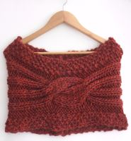 Maroon knitted Women's stole / snood