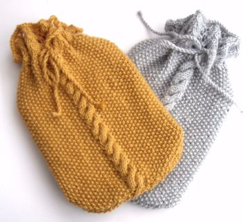 Hand knit cable hot water bottle cover