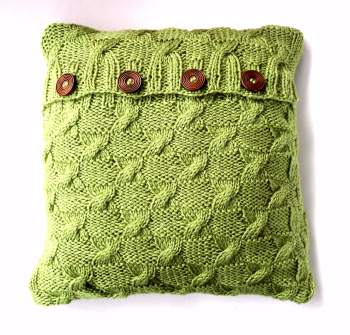 Green cable knit  cushion cover