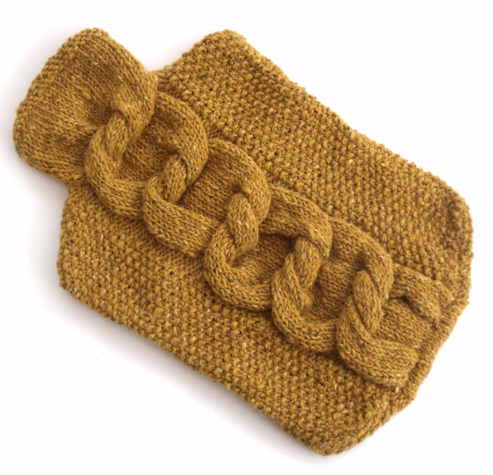 Mustard Wool hot water bottle cover
