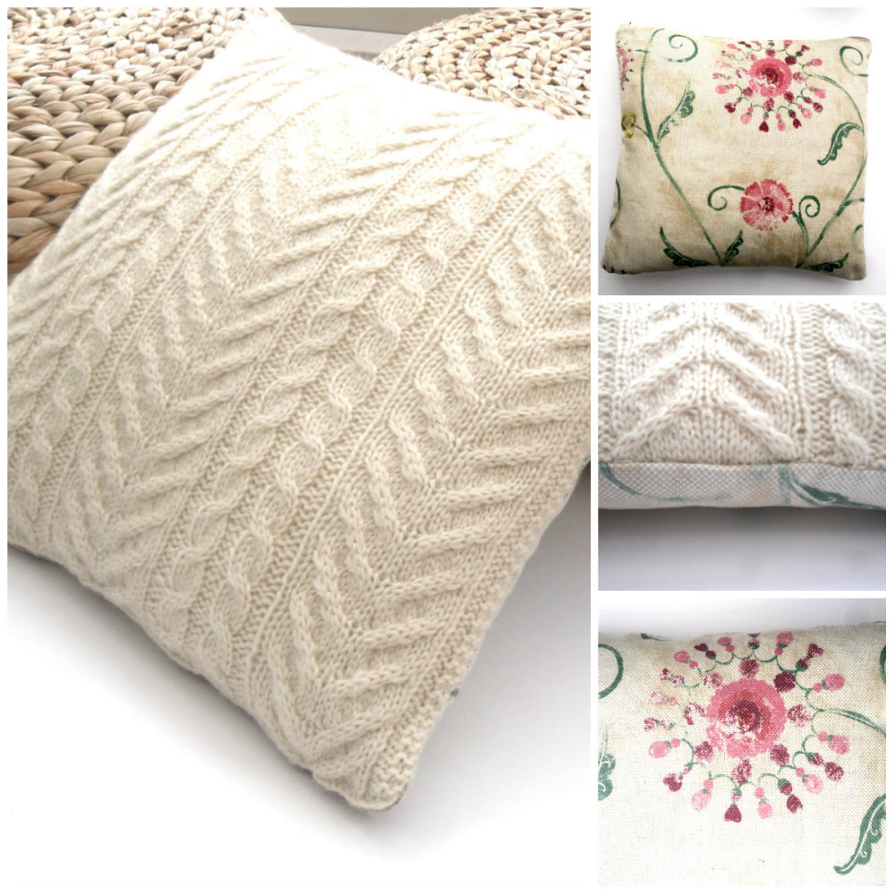 Wool Cabled  / Floral  Cushions