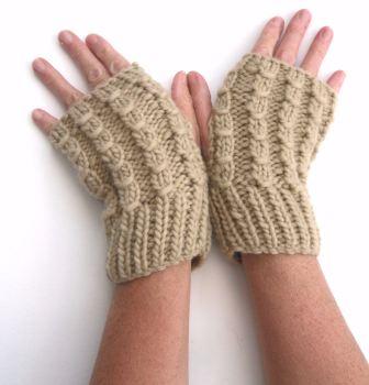 Chunky cream fingerless gloves