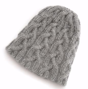 Grey unisex cabled beanie hat