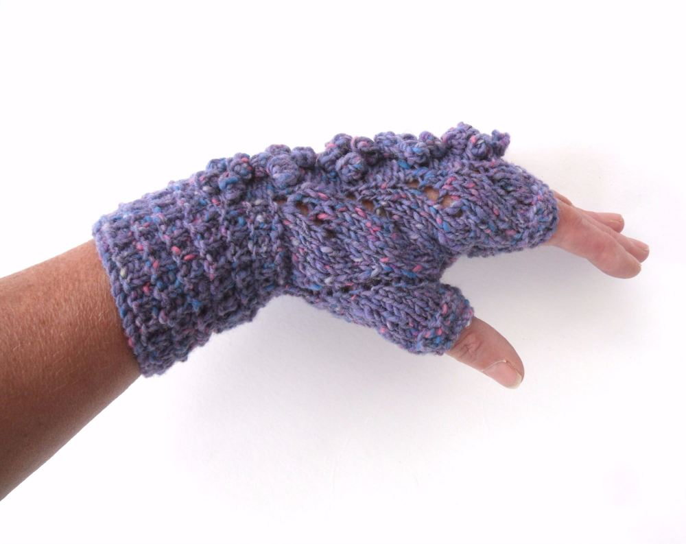 Lilac Wool  Lace Fingerless gloves