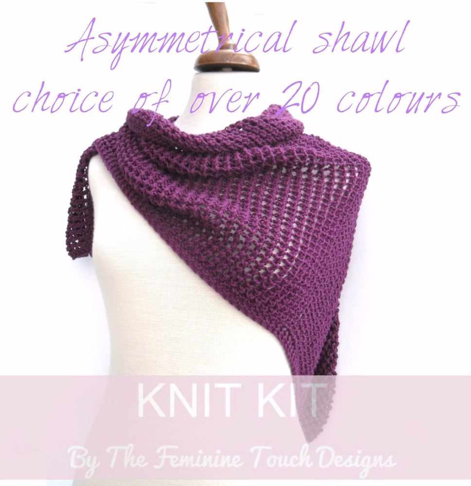 Asymmetrical Shawl knitting kit